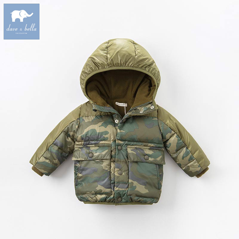 DB6320 dave bella winter baby boys camouflage down jacket children white duck down padded coat kids hooded outerwear db4088 dave bella baby girls padded clothing hooded padded coat outerwear kids down jacket