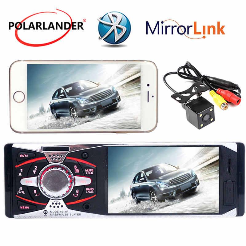 """+ カメラ USB SD AUX ヘッドユニット 12V MP3/MP5/Fm-ダッシュバックミラーカーラジオステレオ 1Din 4.1 """"TFT HD ミラーリンク android"""