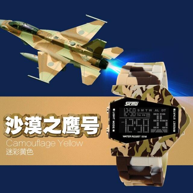 Military Camouflage Rubber Sports Watch Fashion Students Chronograph Luminous Digital Wristwatch 100% 50M Waterproof Clock NW752