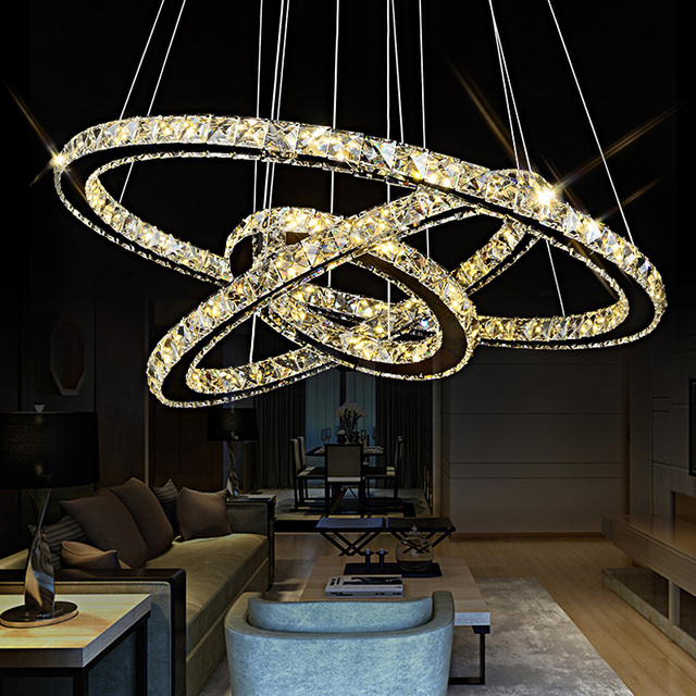 Fast Shipment 3 Rings Modern Chrome Pendant Lamp Led Hall Crystal Chandelier Pendent Lights Kitchen