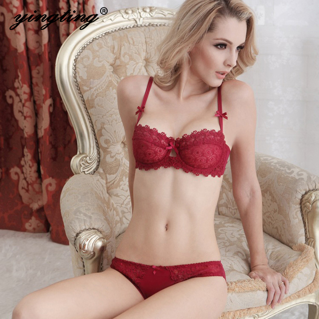 07af3e994cae1 Lace Bra Sets Sexy Small Girls And Brief Set Push Up Underwear Women  Lingerie Plus Size Intimates 1 2 Cup