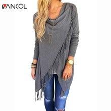 Vancol 2016 European Winter Autumn Women Coat Jacket  Knit Fringed Slash Cloaks Slim  Oversize Coat Plus Size Long Coat Female
