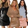 Женщины Классический Кожаный PU Юбка Chic Тонкий Bodycon-Line Юбки Повседневная Осень Короткие Мини-Юбки