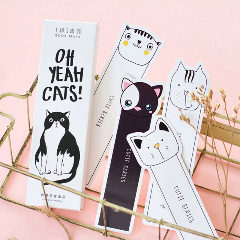 30 pcs/box OH YEAH CATS! cute cat bookmark paper bookmarks kawaii children stationery school supplie kids gifts ...