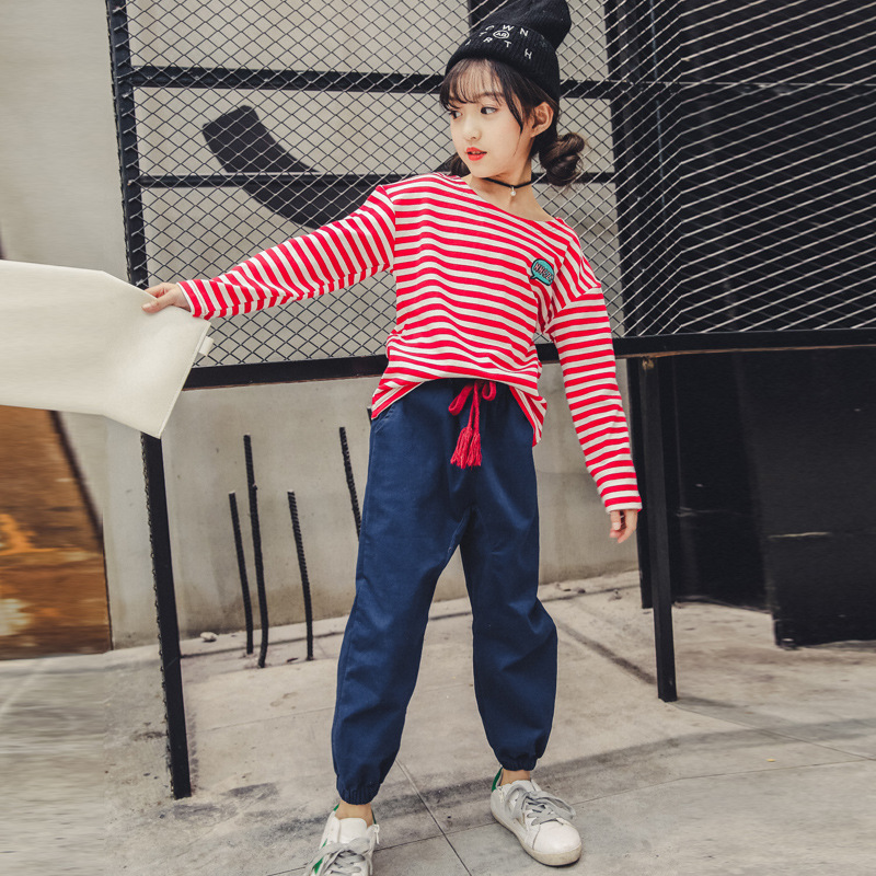 Girl's Suit Long sleeve Striped T-shirt + Pant 2PCS Fashion Casual Children Clothes Teenagers Shirt + Trousers Set 4-14 Years 2pcs children outfit clothes kids baby girl off shoulder cotton ruffled sleeve tops striped t shirt blue denim jeans sunsuit set