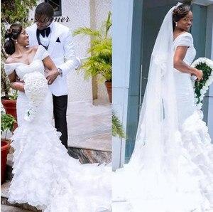 Pleat Ruffles Tassel Mermaid Wedding Dress Cap Sleeve  New African Court Train White Elegant Bride Dress Wedding Gown W0403