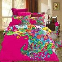 독특한 중국 스타일 다채로운 공작 인쇄 침구 세트 퀸 사이즈 섬유 100% 면 이불 커버 침대 린넨 베개