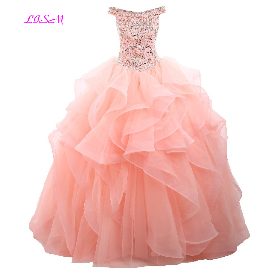 LISM Real Photo Luxury Organza Off the Shoulder Ball Gown Quinceanera Dresses 2018 Sweet 16 Long Prom Dress Lovely Princess Gown
