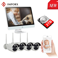 IMPORX 1080P 4CH 16 Inch LCD NVR CCTV Video Surveillance Camera Kit 2MP Wireless Security Camera System Home CCTV IP Camera Set