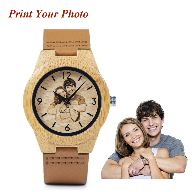 BOBO BRID Private Custom Watch for Lovers Photos UV Print on Wood Watch Logo Cus