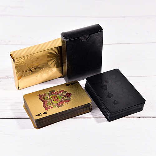 1 pièces Deck Poker étanche en plastique PVC cartes à jouer ensemble noir or couleur Poker cartes ensembles classique tours de magie outil Poker jeux