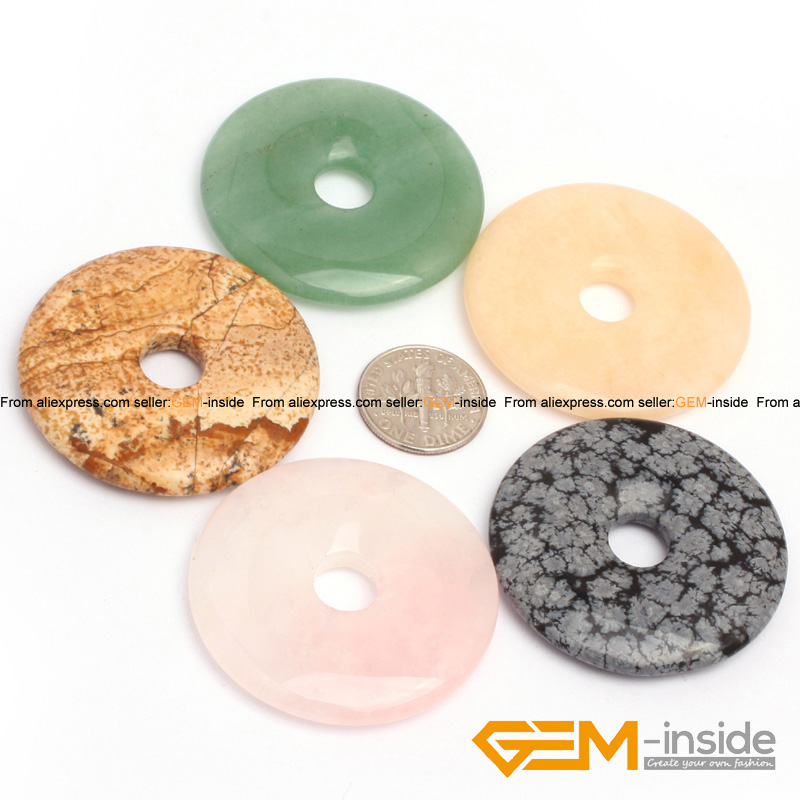 40mm Donuts Shape Natural Stone Beads For Pendant Jewelry Making 1pcs :Rose Quart,Jades,Jaspers,Aventurine,Snowflake Obsidian
