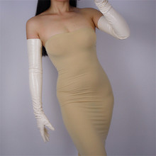 70cm Extra Long Gloves Style Opera Emulation Leather PU Female Bright Beige Cream Nude Color WPU62-70