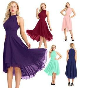 Image 2 - Tiaobug Kadınlar Bayanlar Halter Boyun Kolsuz Yüksek düşük Şifon Zarif Nedime Yaz Elbiseler Örgün Parti Balo Abiye Elbise