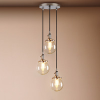 5 9 3 Heads Pendant Lights Globe Chrome Lamp Glass Ball Pendant Lamp Lustre Suspension Kitchen