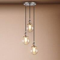 5.9 3 heads Pendant Lights Globe Chrome Lamp Glass Ball Pendant Lamp Lustre Suspension Kitchen Light Fixture E27 Home Lighting