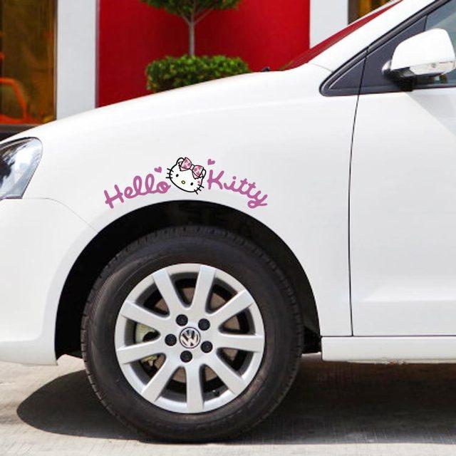 a34270def Aliauto Newest Design Cute Car Sticker Hello Kitty Wheel eyebrow Sticker / Decal For Golf 5 7 Mazda Smart Opel Fiesta Focus Cruze