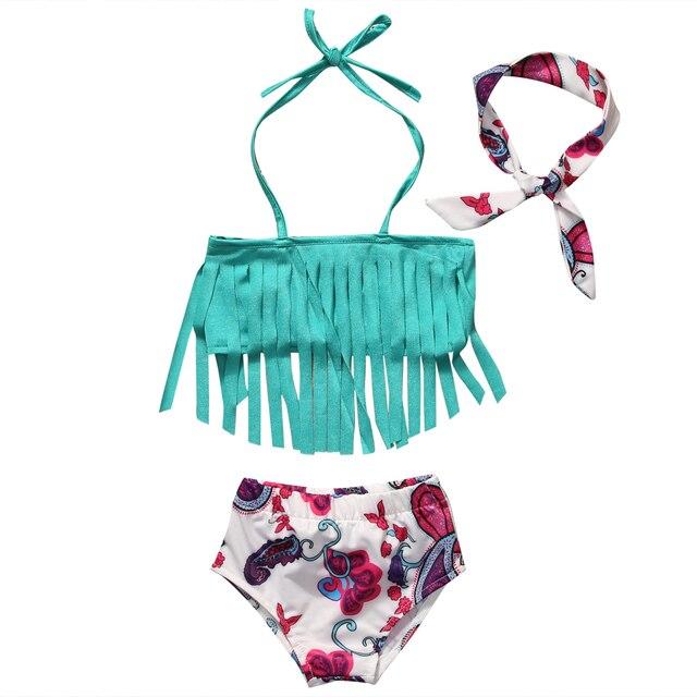6c66297eec Kawaii Kids Swimwear Girls 3pcs Tankini Bikini Set Tassels Swimwears Print  Swimsuit Triangle Bathing Suit Beachwear