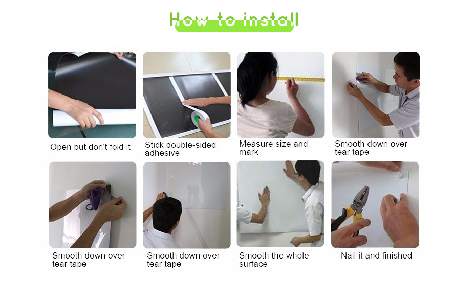 930_11 New creative ferrous whiteboard DIY Green board Message Board waterproof Wall Sticker 150 cm x 100 cm x 0.6 mm