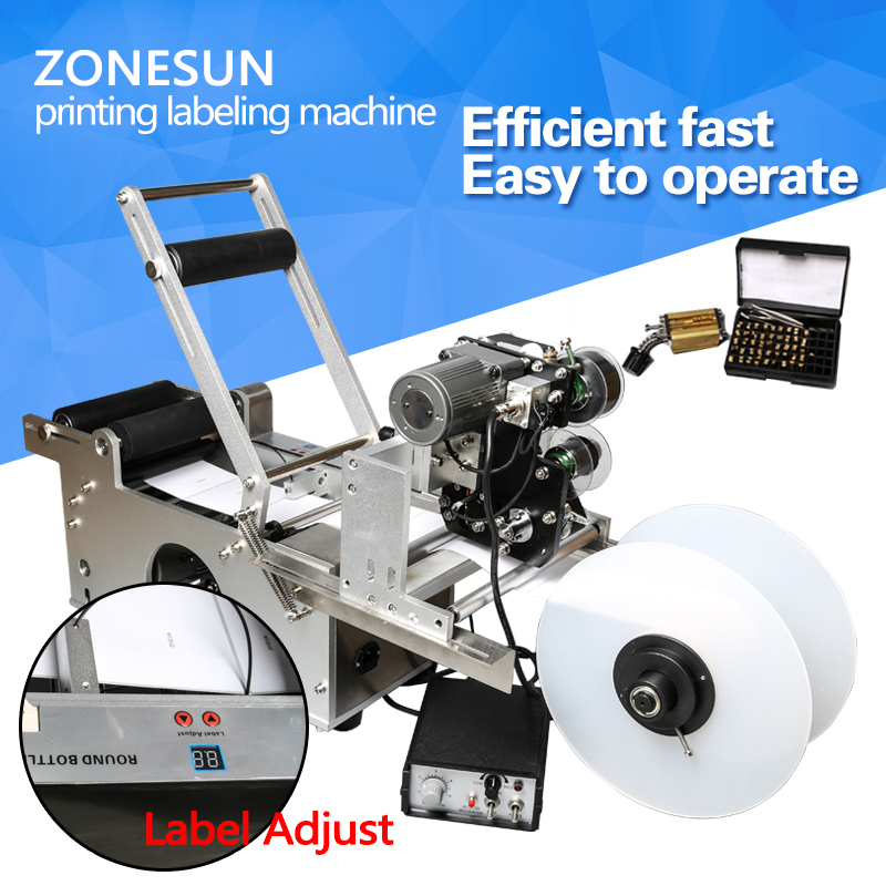 ZONESUN Semi Automatic Label Applicator Labeling Machine With Date Code Printer Bottle Labeller LT-50DT Transparent Sticker free shipping free semi automatic round bottle labeling machine labeler lt 50 with printer code stainless steel label sticker