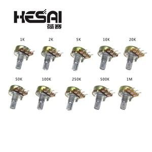 5Pcs/lot WH148 Linear Potentiometer B1K B2K B5K B10K B20K B50K B100K B250K B500K B1M 15mm Shaft With Nuts Washers 3pin WH148(China)
