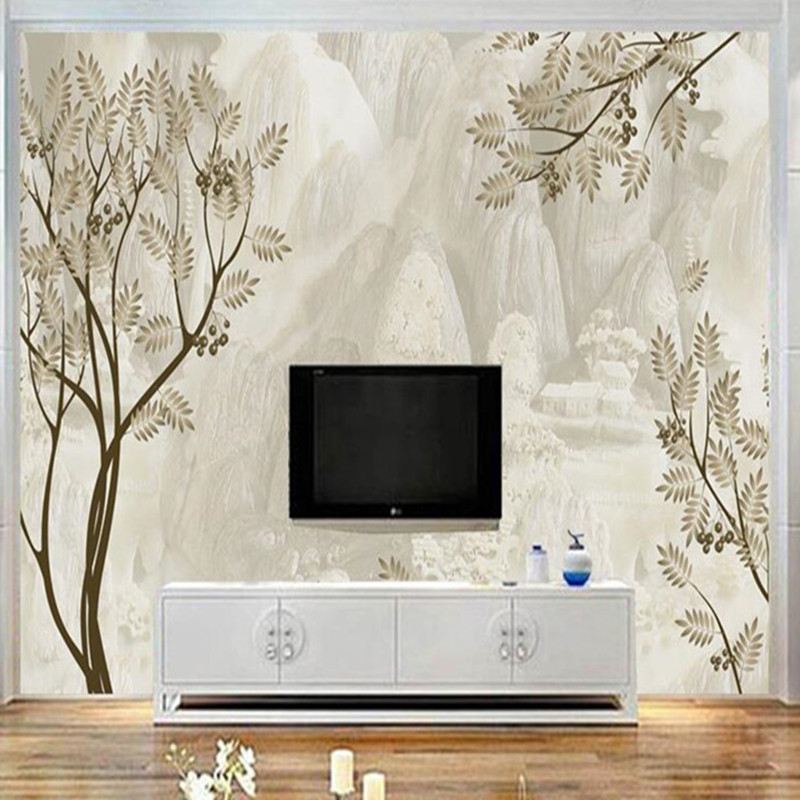 Custom Wallpaper Photo Mural Chinese Style Wallpaper Roll Simple Leaves Landscape Painting Wallpapers for Living Room Bedroom custom 3d mural wallpaper european style painting stereoscopic relief jade living room tv backdrop bedroom photo wall paper 3d