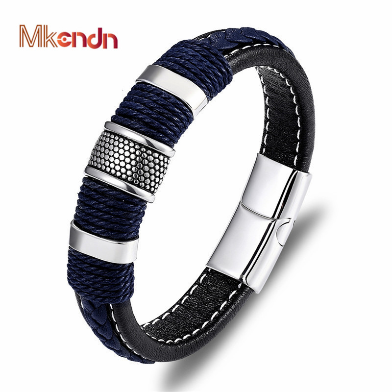 MKENDN Punk Multilayer Braid Genuine Blue Leather Bracelet Titanium Stainless Steel Magnetic Buck Bracelet Men Homme Pulseras