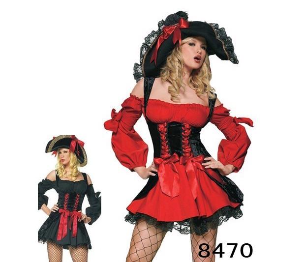 Nuevo Disfraz De Pirata Rojo Sexy Para Ropa De Mujer Halloween Con Sombrero Vestido De Fantasía Disfraces De Navidad Para Adultos Pirate Costume Costume For Womencostumes For Halloween Aliexpress