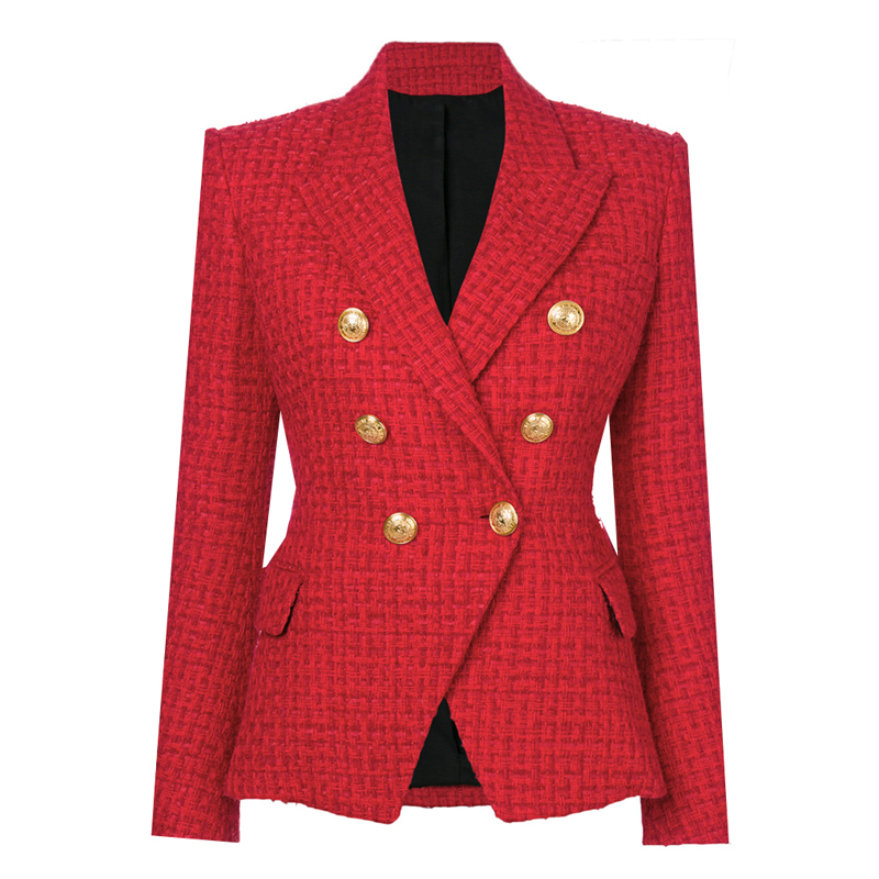 HIGH STREET Newest Runway 2019 A W Designer Blazer Women s Double Breasted Metal Buttons Wool