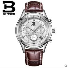Binger Brand Switzerland Men Sports Watches Quartz Hour Date Clock Man Leather Strap Military Waterproof Chronograph Wristwatch