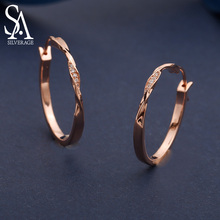 SA SILVERAGE 925 Sterling Silver Rose Gold/Silver Color Round Circle Hoop Earrings for Women Zirconia Long