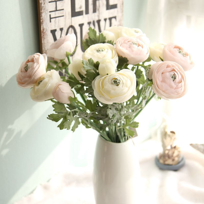 3Pcs / Lot Bouquet Kunstlik Ranunculus-lilled 22.8