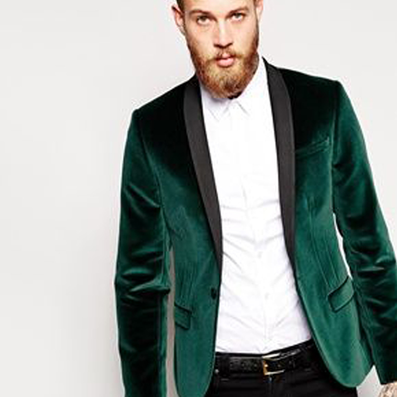 Green Velvet Business Party Men Suits Groom Wear 2018 Black Shawl Lapel Blazer Two Piece Wedding Tuxedos (Jacket + Pants)