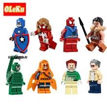 Single Sale Super Heroes Figures Bricks Stan Lee SDCC Captain Spider Girl America Hobgoblin Sandman Building