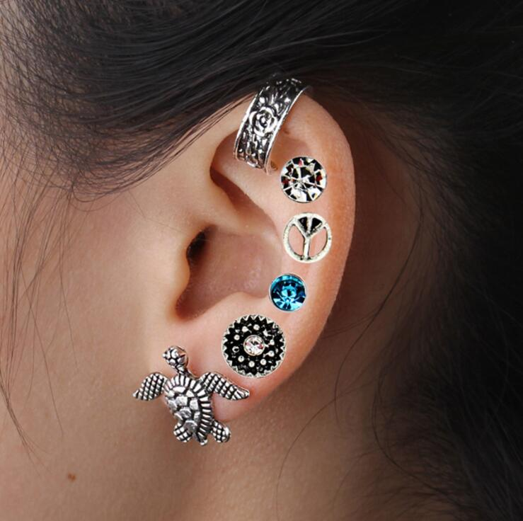 2018 New 1 Set Bohemian old Retro Punk Silver Shells Turtles Rhinestone Animals Earrings Set Earrings Ear rings for women gift