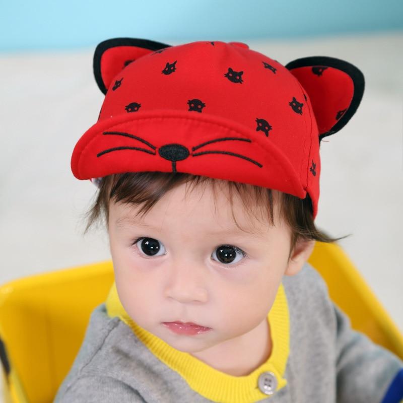 92b1066f065 2017 new cartoon baby boy girl baseball cap high quality spring summer cute  cat ear kids