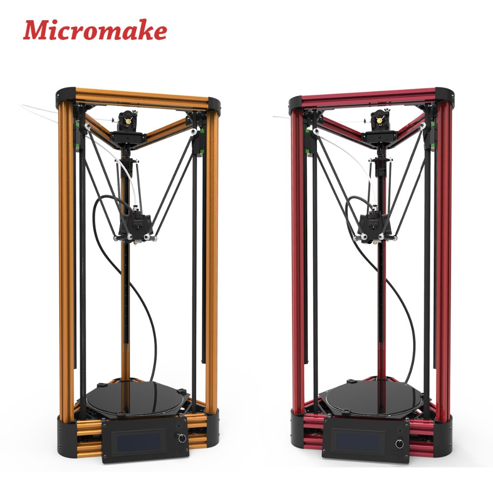 Prix pour Micromake 3D Imprimante Poulie Version Linéaire Guide DIY Kit Kossel Delta Auto Nivellement Grande Taille D'impression 3D En Métal Imprimante