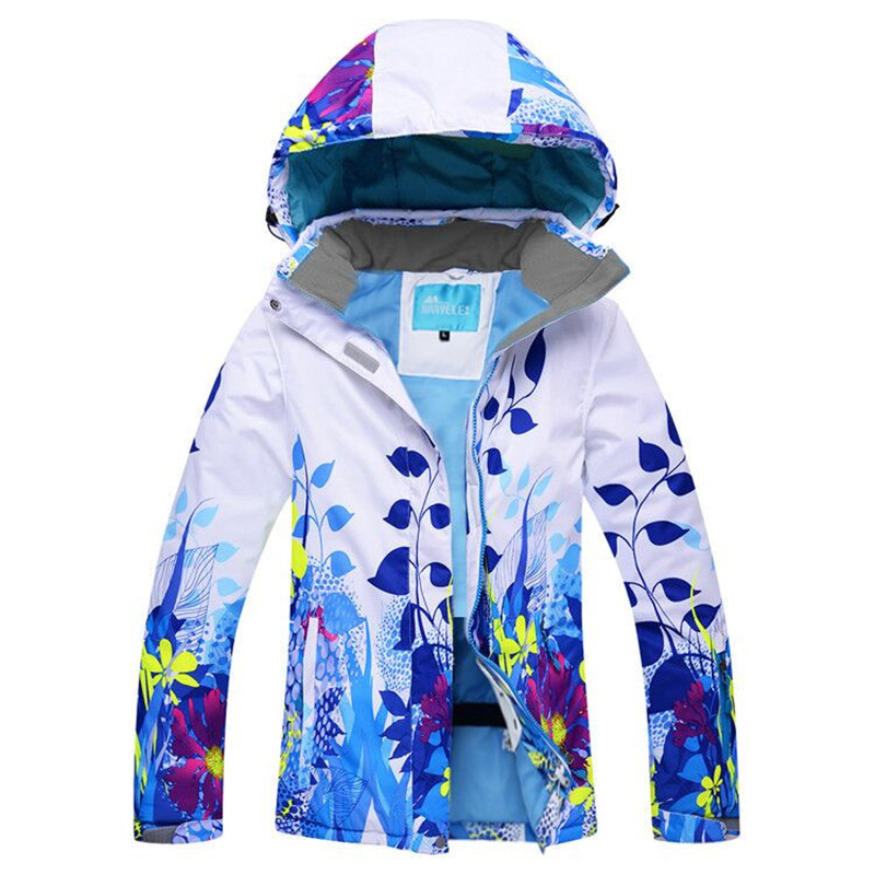 Women Ski Jacket Flower Style Snowboard Jacket Windproof Waterproof Super Warm Clothing Skiing Snowboard Outdoor Sport Wear Coat