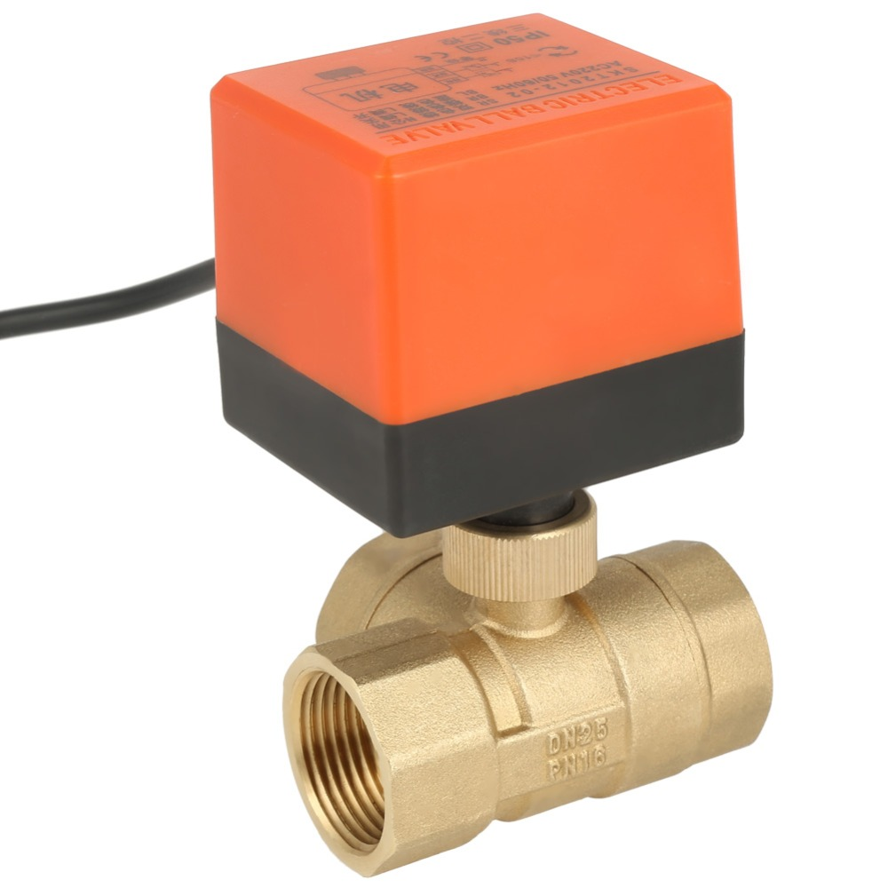 Solenoid valve AC 220V Brass Electric Motorized Ball Valve 2 Way 3 Wire T-type 1.6pa Thread DN25 G1 3 Way Ball Valve valvula brass connector 2 way welding machine rotatable solenoid valve ac 24v