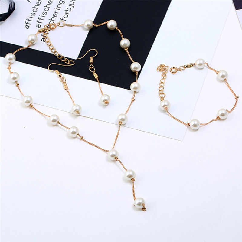 1Set Gold/Silver Color Imitation Pearls Necklace Bracelet Earrings  Elegant Jewelry Sets For Women Hot Sale