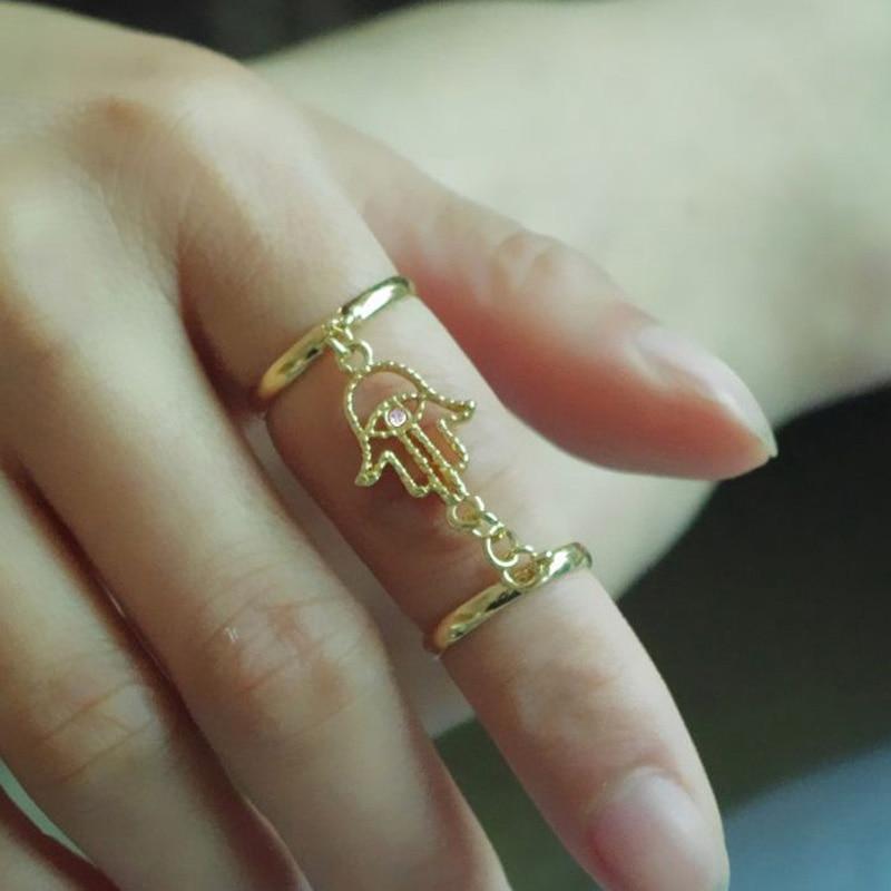 Gold Silver Color Hand Of Fatima Hamsa With Evil Eye