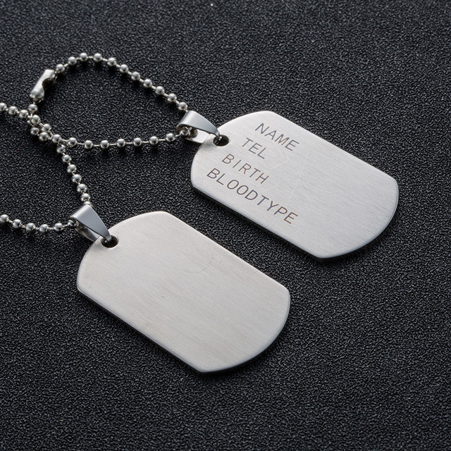 Military Army Tactical Engraving Name ID Tags Cards Pendant Man Necklace&Pendants Stainless Steel Fashion Keychain Men Jewelry 4