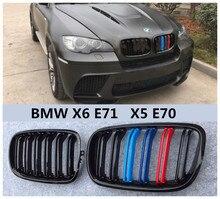 Авто решетка Гонки Грили для BMW X6 E71 X5 E70 2008 2009 2010 2011 2012 2013 2014 Высокое качество Модификация аксессуары