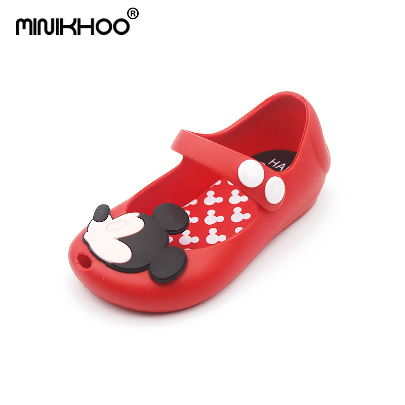 Mini Melissa New 2018 High Quality Mini Girls Mickey Minnie Breathable Sandals Anti Skid Jelly Shoes Children Sandals 13-17cm