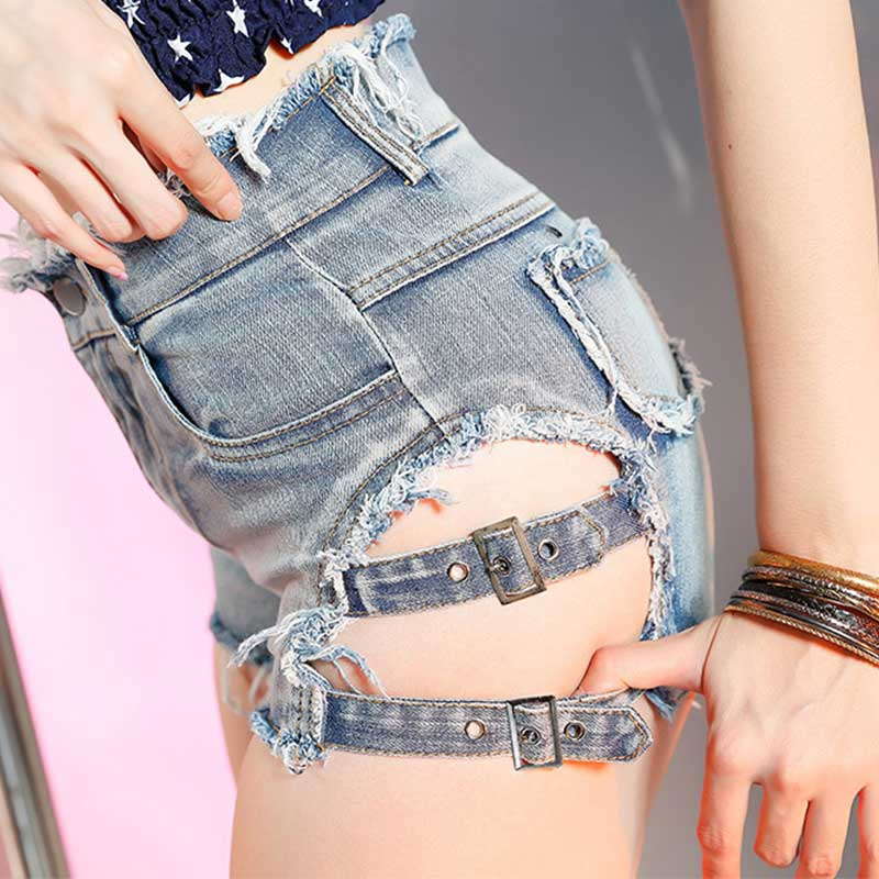 Women Summer Black White Mini Jeans   Shorts   with Side Ribbon Punk Denim   Shorts   High Waist Hollow Out Ripped Cut Out Hot   Shorts
