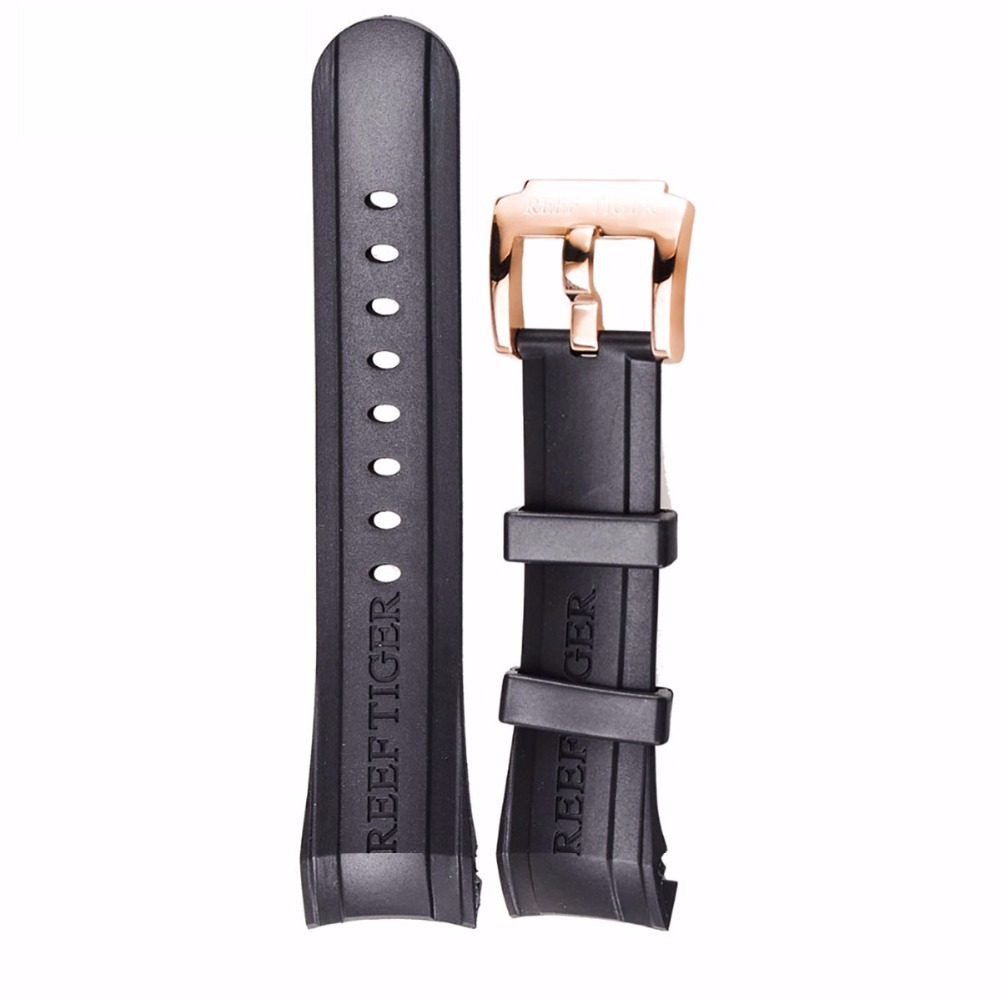 Reef Tiger RT Watch Band 29 CM Black Rubber Watch Strap with Tang Buckle for Aurora
