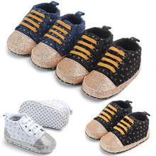 Spring Canvas Baby Girls Boys Firstwalker Shoes Newborn Bling Stars Infants Sports Sneakers for 0-18M