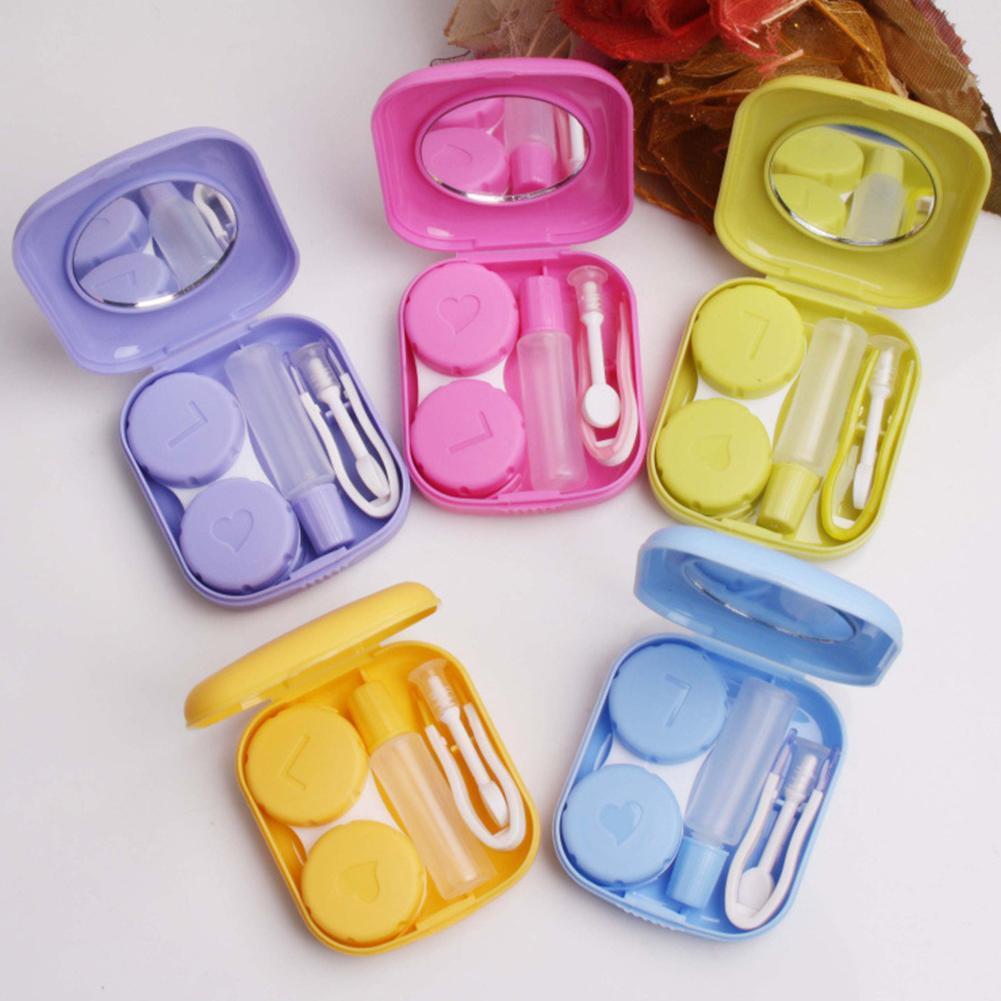 Kit de voyage de poche Kit de lentilles de Contact tout en un rose bleu violet jaune boîte à Contacts avec verre d'apparence