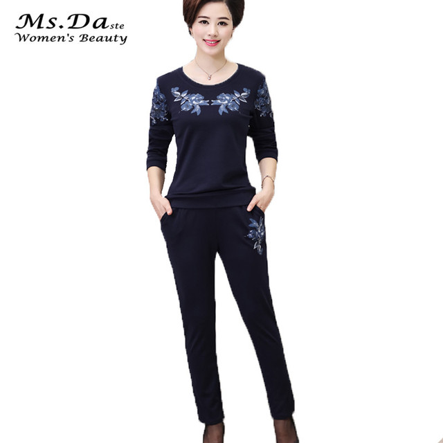 3ad75b842ed Ms Costume Casual Plus Size Women Clothing Set 2 Pieces top+pants Floral  Lady Tracksuit Feminino Overalls Blue Gray Red XL~4XL
