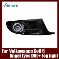Туман сборки лампы светодиодный дневной свет удара Ангельские глазки Foglight Daytime Бег свет линзы Бампер Комплект для VW Гольф 6 2009 2012